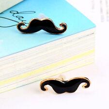 Vintage Black Handlebar Mustache Moustache Beard Ear Studs Earrings Fashion GA