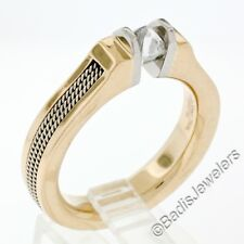 Men's Gelin Abaci 18K Gold Point Cut Rough Diamond Tension Set Twisted Wire Ring