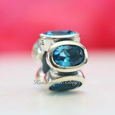 Authentic Pandora Oval Lights, Blue Sterling Silver Charm  Bead CZ 790311CZB