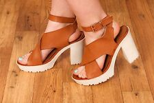 70s vintage style tan leather chunky white platform sandals by CELEBRITY NYC