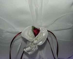 Ring Bearer Pillow Wedding Party Ivory Satin & Dark Red