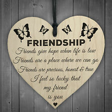 I'm Lucky My Friend Is You Wooden Hanging Heart Friendship Gift Best Friends