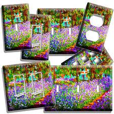 Irises Garden Claude Monet Painting Lightswitch Outlet Wall Plate Room Art Decor
