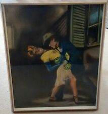 Vintage-Framed Picture of Interracial Dancers-Jealous Man Watching thru Window