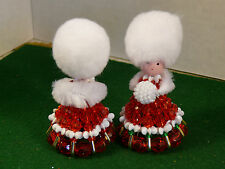 2 Vintage Safety Pin Doll Beaded Home Crafts Holiday Muff Red Green White Bead