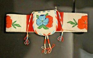 Stunning Large Plateau Indian Beaded Belt Floral Design Native American Beadwork