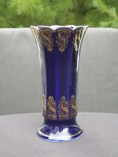 "Bareuther Waldsassen Cobalt Blue 22K Gold German Handmade Vase 6 3/4"" EXC"