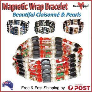 Magnetic & Cloisonné Wrap Bracelet Energy Therapy Bracelet Arthritis Pain Heal