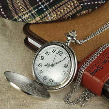 Brand New Silver Colour Albert Pocket Watch With Chain Necklace Watches Vintage