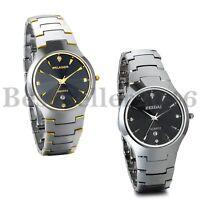 Mens Luxury Date Watch Tungsten Carbide Band Analog Quartz Business Wrist Watch