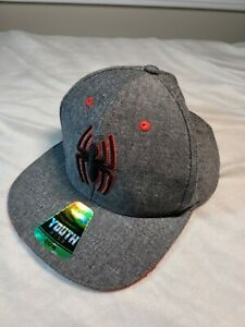 NWS Marvel's Spiderman hat, youth and adjustable snap back, mostley grey