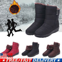 Women Winter Zipper Snow Booties Warm Waterproof Fur Lined Ankle Boots Shoes US