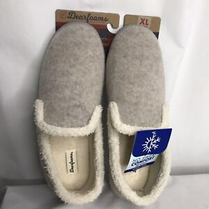 New Dearfoams Womens Slippers XL (11-12) Gray Memory Foam Slip-Ons