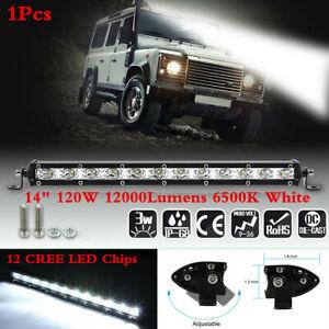14in 120W 12CREE LED Light Work Bar Spotlight Fog Lamp Car Offroad Truck Boat