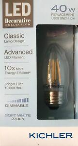 Kichler Decorative Collection 40-Watt Clear B10 LED Bulb w/Standard Base - NEW