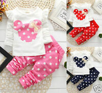 Newborn Baby Girls Minnie Mouse Outfits Clothes T-shirt Tops Long Pants 2PCS Set