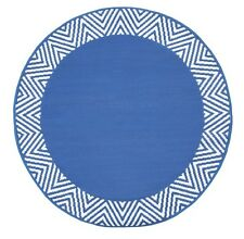 Outdoor Recycled Plastic Mat Rug | Round Reversible Olympia Blue 180cm