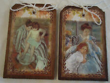 5 Wood MOTHER'S DAY Mother&Child Hang Tags/GiftTags/Ornaments HANDCRAFTED SetW