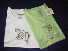 2pcs. PXL XL Petite short sleeve top embellished Coral Bay Green owl White shell