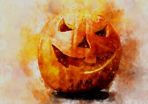Jack-o'-lantern / carved pumpkin watercolour painting unique gift (print)