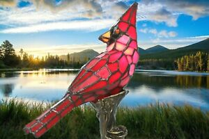New River of Goods Stained Glass Red Cardinal Bird Accent Lamp 13.5 in Hand Cut