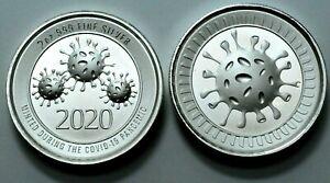 2020 2 Oz 999 Silver Round Cov-19 Envela Ultra High Relief Coin! No Reserve ! .