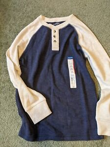 Brand New With Tags Arizona Jean Co. blue/cream henley shirt Size M 10/12