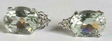 Green Blue 9 x 7 Oval Aquamarine Stud Earrings 14k White Gold 6 Diamonds 1.4gram