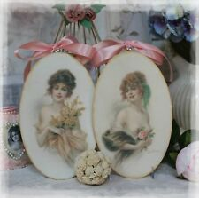 """A Set of 2 """"Victorian Women""""~Shabby Chic~Country Cottage style~Wall Decor Sign"""