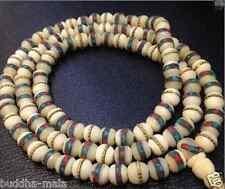 108 8mm Nepal Handmade Yak bone Turquoise Brass Beads Charms Japa Mala Necklace
