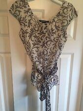 NWT Ellen Tracy 100% Silk Cap Sleeve Blouse Women's Size 10 Retails $248