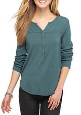 NWT $88 S SPLENDID Mixed Media Henley Thermal Long Sleeve Top Green ST10957
