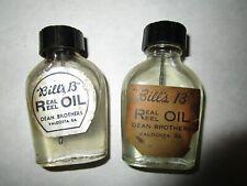 """2 vintage """"BILLS 13""""  REAL REEL reel oil bottles , fishing tackle"""