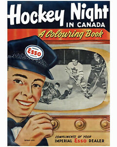 Wall Art Poster of ESSO Hockey Colouring Book from 1953 - 8x10 Photo