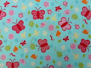 Butterfly Blue Cotton Fabric (1.50 meters end of bolt)