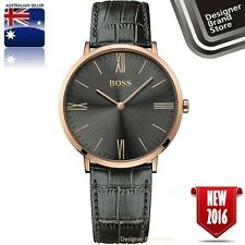 Hugo Boss Mens Jackson Ultra Slim Watch Rose Gold Tone Grey Leather 1513372