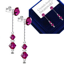 *2 in 1* Fuchsia Swarovski® Crystals 925 Sterling Silver Dangle Earrings Long