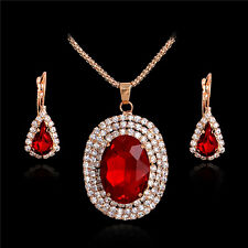 Faux Red Gemstone Jewelry Set Necklace Earring 18K Gold Plated Rhinestone Inset