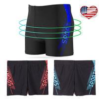 US New Mens Swimming Trunks Swim Pants Professional Swimwear Shorts Boxer Briefs