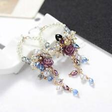 Women Earrings Crystal Beads Flowers Dangle Tassel Earrings Jewelry Accessories