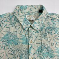 Tasso Elba Button Up Shirt Men's Size XXL Short Sleeve Tan Blue Floral Casual