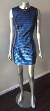Metallic Stripe Vintage 90s does 60s Mod Gogo Mini Short BLue Party Dress S