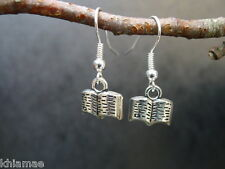 Book Of Shadows Earrings hooks silver plated wiccan pagan jewellery bos spells