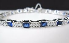 LUXURY 10.6ct PRINCESS CUT BLUE SAPPHIRE CREATED DIAMONDS GP TENNIS BRACELET