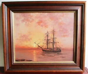Original maritime oil painting seascape by L. Alexis