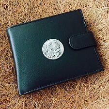 Antique Pewter Golden Retriever Dog on Genuine Cow Hide Leather Money Wallet