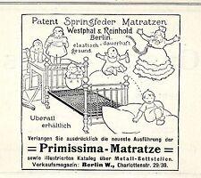 Westphal & Reinhold Berlin W. Primissima Matratze Historische Annonce von 1909