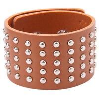 1pc Fashion Gothic Punk Rock Spike Stud Rivet Wide Leather Bracelet Wristband FI