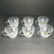 """VTG Bohemia Crystal Glass Clear Tea Cup Mug Czech Hand Cut 2 3/4"""" Tall Lot Of 6"""