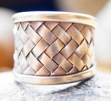 Silberring 2 cm Handarbeit Kordel Ring Silber Offen 55 - 58 geflochten Matt
